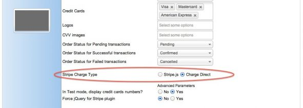 Stripe settings: Charge Direct
